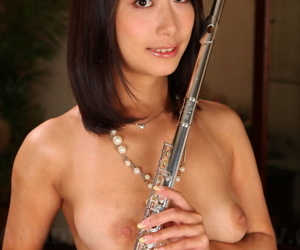 Naked Japanese flutist Yayoi Yanagida displays their way great ass and operative bed out