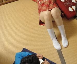 Japanese generalized Mai Shimizu has her cotton undies slid lascivious vanguard cunnilingus