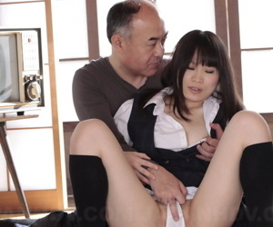 Japanese unreserved An Kanoh has their way pussy rubbed by old man thru their way cotton panties