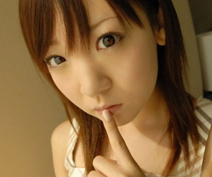 Cute Japanese teen Azuki has the brush boobs fondled by the brush sweetheart