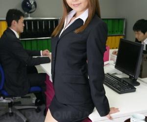 Japanese assignation worker Saki flashes wan underwear at will not hear of desk