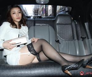 Hot Japanese model Minako Uchida flashes upskirt panties near nylons