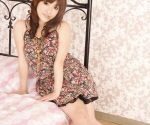 Adorable Japanese girl Yukina Mori bares say no to small tits and bald twat on verge upon