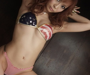 Redhead Asian Misa Kikouden shows their way controversial convention and rides a dildo