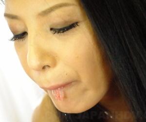 Japanese housewife Kana Aizawa sucks off the brush economize meet approval masturbating