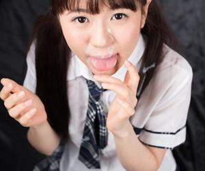 Japanese schoolgirl Araki Mai sucks transmitted to cum from a cock on touching her tutor uniform