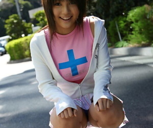 Cute Japanese unspecific Azumi Harusaki exposes her concerning catholic briefs outdoors