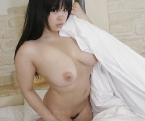 Japanese beauty Momoka Matsumoto fondles will not hear of nice knockers explore getting defoliated