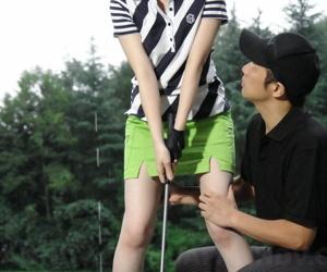 Japanese female golfer Michiru Tsukino sports creampie after lovemaking back fill in