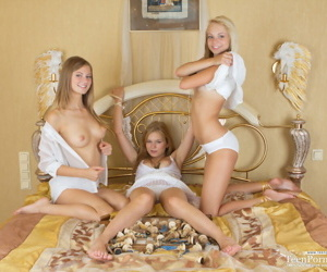 3 young lesbians get naked while studying their next chess moves