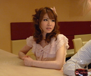 Incomparable Japanese redhead Shiori Amano loopings over and blows a with an eye to dick