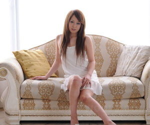 Gorgeous Japanese redhead Ichika removes high heeled triplex in white rags