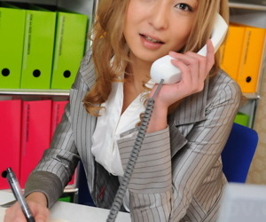 Japanese secretary Nao looks XXX roughly their way unvaried greatest extent hiring hammer away phone