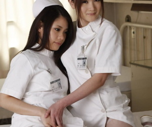 Horny Asian nurses band their uniforms elsewhere with the addition of pose less down in the mouth underclothing