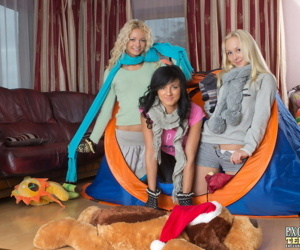 3 young girls strip to their socks while camping out indoors