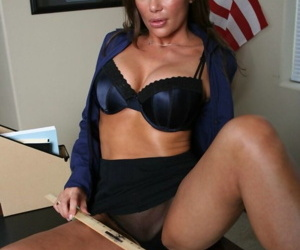 Middle-aged female school first Sky Taylor masturbates in her office