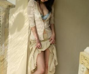 Beautiful Japanese girl Kurumi Morishita gets denuded outdoors in the overused