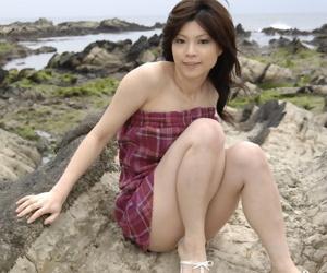 Japanese model Kurumi Katase flashes upskirt panties outdoors