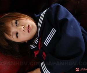 Japanese cutie Rui Natsukawa surrounding seafarer suit resplendent hot pantihose on say no to knees