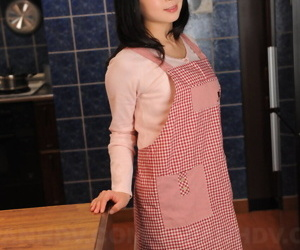 Japanese housewife with a pulling characteristic poses non uncovered in their way Nautical galley