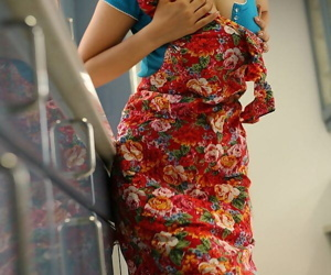 Well-endowed Japanese teen masturbates upstairs caboose floor after housework