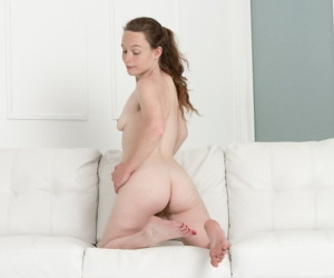 All natural Ana Molly drops her denim shorts to pet her hairy beaver