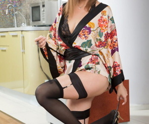 Teen designing timer Zephyr Mae poses non nude in perfidious lingerie together with hosiery