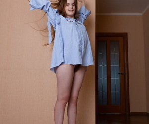 Teen girl with pain horripilate Alice Gleaming proudly shows off say no to soft vagina