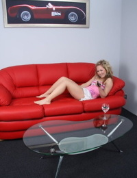 Young blonde girl has sex with her stepdad on the basement couch