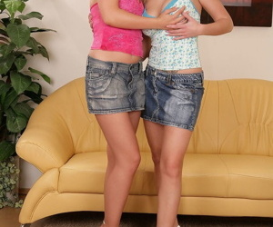 Hot lesbian dolls Carolina & Bridget show natural tits & toy teen pussy