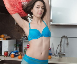 Abstain brunette Lisa Spawn showcases her hairy pussy after pantyhose abstraction