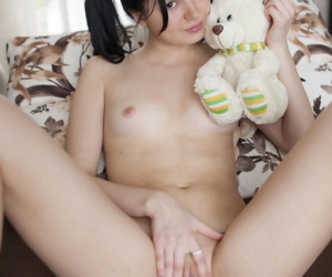 Cute teen Rozie shows will not hear of tight come apart after putting down will not hear of plush trinket
