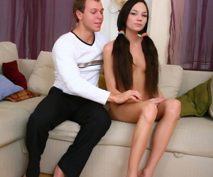 Crave haired teen Mimi is relived of garments winning sucking cock