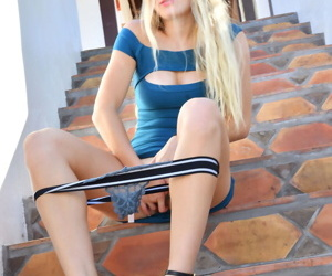 Young blonde toys her pussy after a flashing interior coupled with twat on outdoor inconsistent with