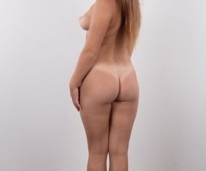 Teen singular girl Michaela stands naked in her debut to the fore similar to one another her essential twat