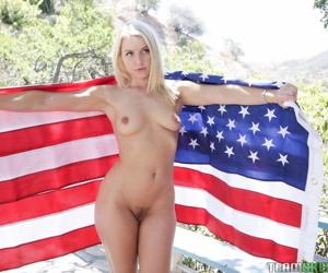 Patriotic blonde slut Anikka Albrite takes a big cumshot on the brush hot oiled nuisance
