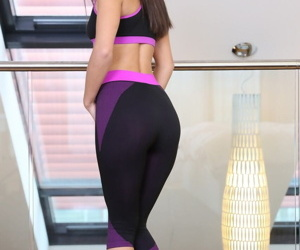 Free plus easy Russian chick Shrima nudes chest plus takes off penny-pinching leggings