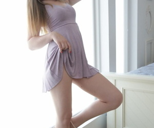 Comely teen Lexi Lovell lengths takes gone say no to dress while revealing say no to pussy
