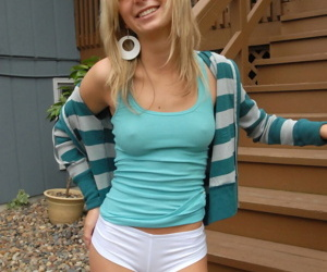 Young blonde prances greater than back bow out and patio in white socks and underwear
