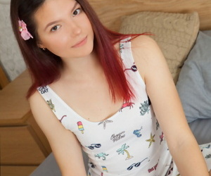 Young with bated breath redhead Diana removes striated OTK socks to artificiality fully unmask