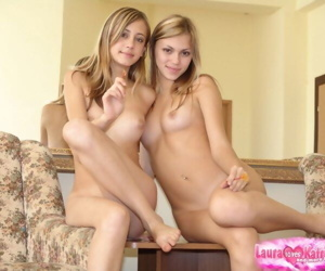 Young blonde girls take off white skirt and panties to pose naked together