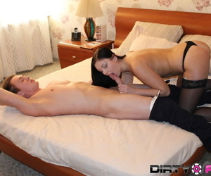 Gorgeous suntanned Alla gets will not hear of tanned shaved pussy eaten and pounded deep