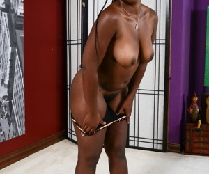 Hulking brown princess Janelle Taylor cups her pointer sisters although showing her trimmed wet crack