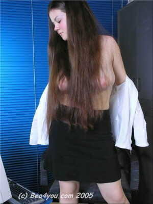 Teen first timer Bea exposes her big naturals and juicy ass in an office