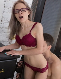 Nerdy spinner gets on her knees for jizz after fucking her boyfriend