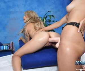 Sexy brunette massage therapist celeste gives a little more than a massage for r - part 3972
