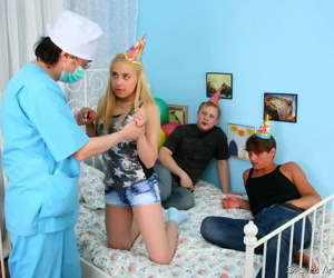 Comme ci teen virgin lucy abernathy tainted coupled with jizzed wide of two guys - part 2371