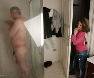 Hot babe catching a dirty old man in the shower - part 4082