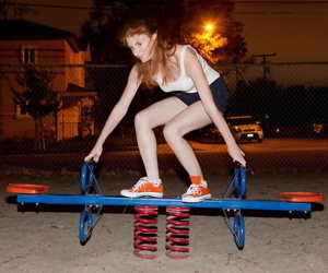 Alluring redhead girl serrate belford having sport outdoor - fidelity 4035