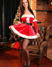 Busty brunette emma glover dresses up in christmas outfit for so - part 1139